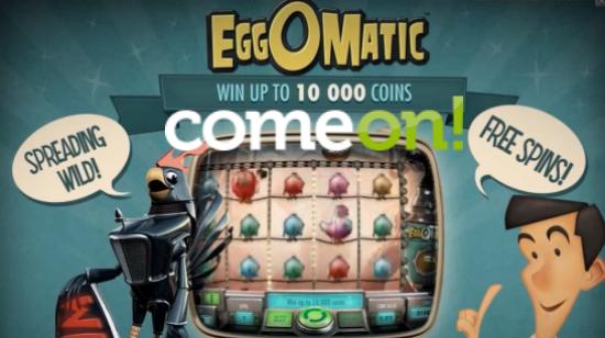Få 500 gratisspinns på EggOMatic hos ComeOn!