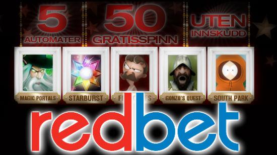 Fem spilleautomater og 50 gratis spinn på RedBet