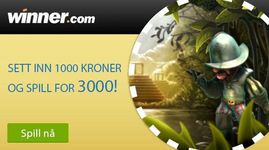Sett inn 1000 kroner og få 3000 kroner å spille for hos Winner Casino!