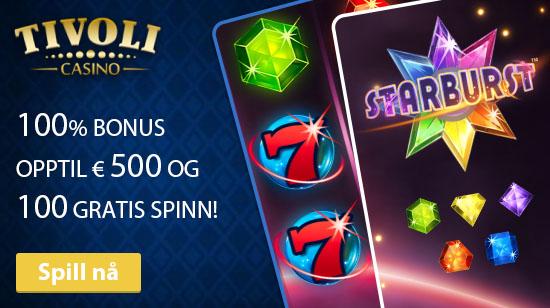 Opptil € 500 i bonus og 100 gratis spinn til deg hos Tivoli Casino