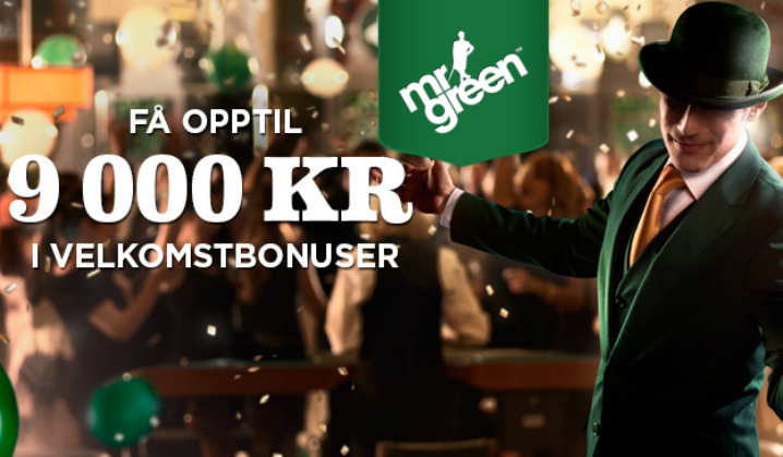 Opptil 9000 kr i velkomstbonus på Mr Green!