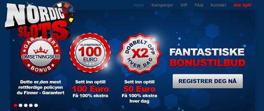 Bransjens beste bonustilbud: Få 100% hver dag hos NordicSlots