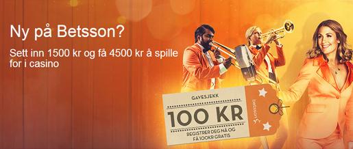 Få 100 kroner gratis hos Betsson