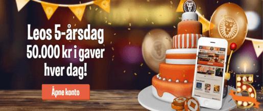 LeoVegas fyller 5 år – Deler ut 50 000 kr hver dag!