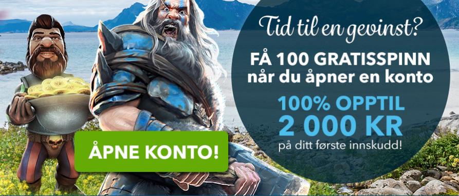 2000 kroner og 100 gratisrunder venter hos NorskeAutomater